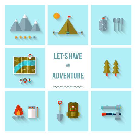waypoint: Camping flat design. EPS 10. Transparency. No gradients.