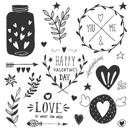Valentines day design elements. EPS 10. Vector