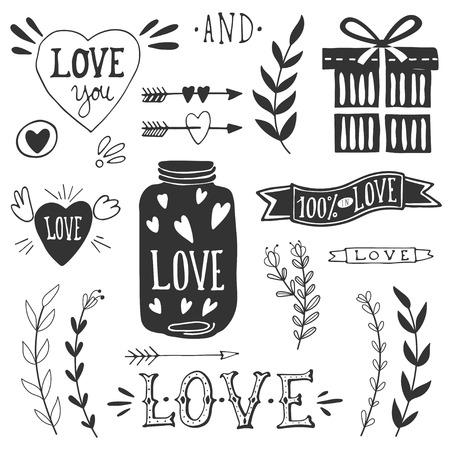 carta de amor: D�a elementos de dise�o de San Valent�n. 10 EPS.