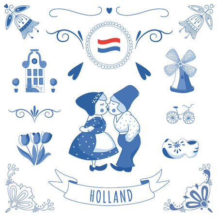 holland windmill: Collection of Dutch ornaments
