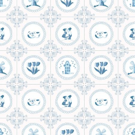 Naadloze patroon met Nederlandse ornamenten Stock Illustratie