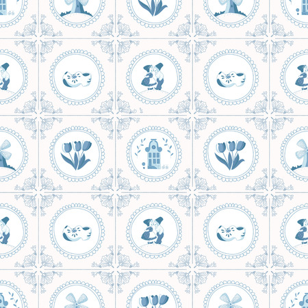 Seamless pattern with Dutch ornaments Banco de Imagens - 35712693