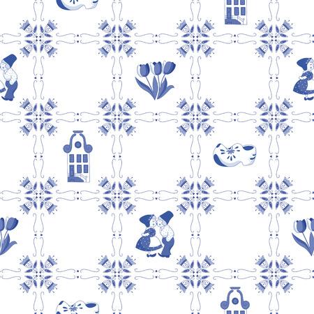네덜란드 장신구와 원활한 패턴 일러스트