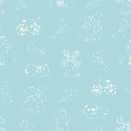 delftware: Seamless pattern with Dutch ornaments.