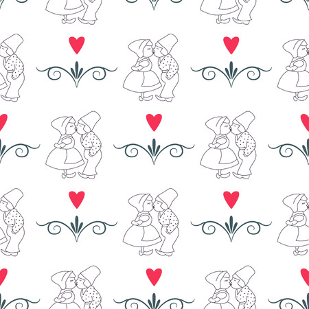 dutch girl: Seamless pattern with Dutch ornaments
