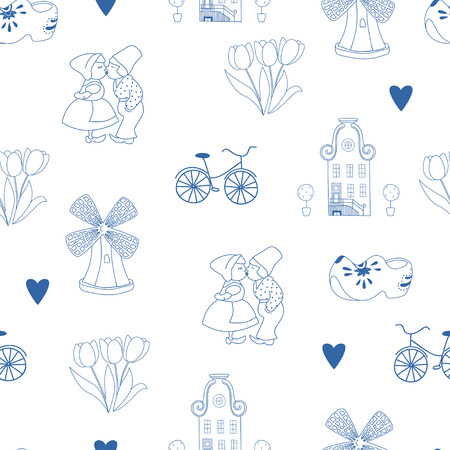 holland windmill: Seamless pattern with Dutch ornaments