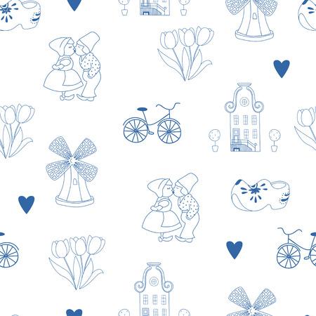 dutch: Seamless pattern with Dutch ornaments