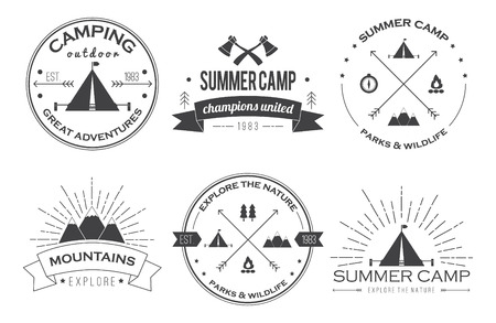camping: Set of vintage summer camp badges and other outdoor emblems and labels.