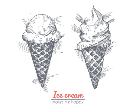 black and white cone: Hand drawn illustration of ice cream.  Illustration