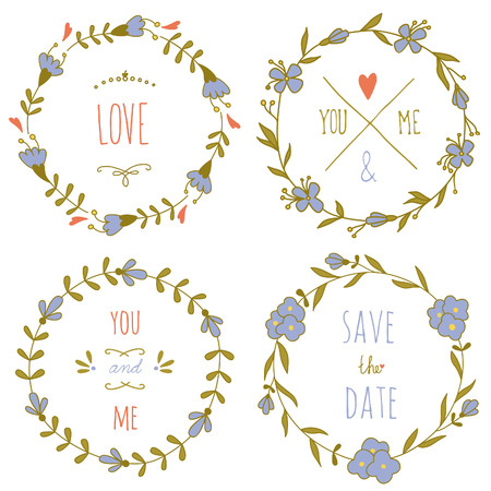 Set of wreaths for the Valentine\'s day or a wedding.  Vettoriali