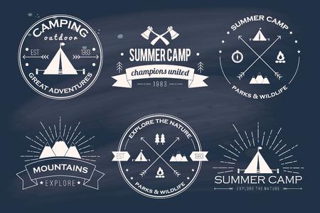 Set of vintage summer camp badges and other outdoor emblems and labels