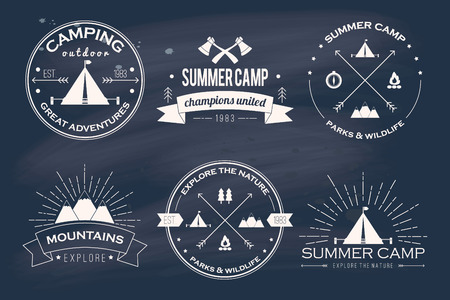 outdoor: Set of vintage summer camp badges and other outdoor emblems and labels