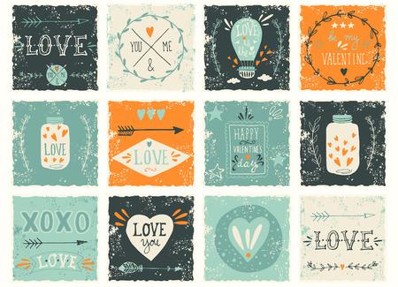 Set of grunge Valentines day or wedding design elements Vector