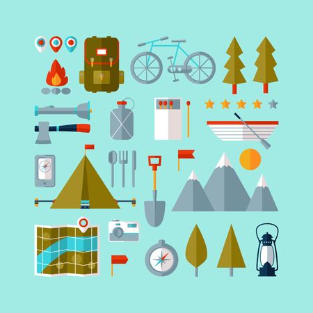 camping equipment: Camping equipment icons set (flat design)