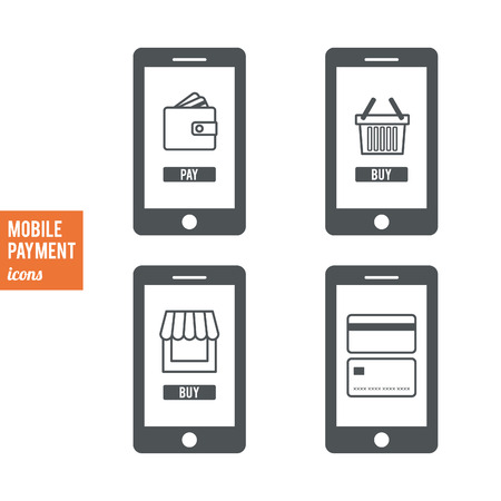 cardholder: Mobile payment icons set