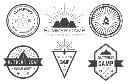 camping equipment: Set of vintage summer camp badges and other outdoor emblems and labels
