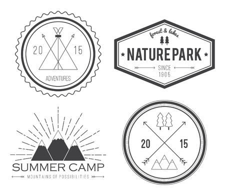 Set of vintage summer camp badges and other outdoor emblems and labels