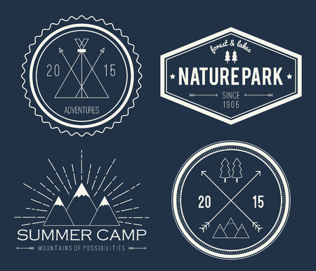 wood sign: Set of vintage summer camp badges and other outdoor emblems and labels on blackboard