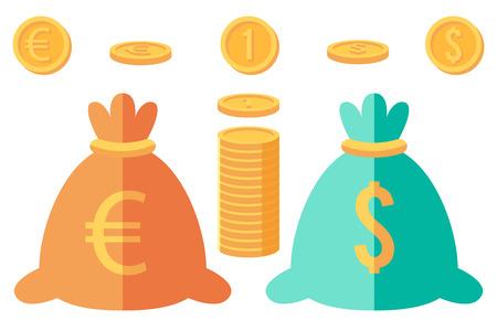 dinero euros: Conjunto de d�lar y euro monedas y dos sacos de dinero