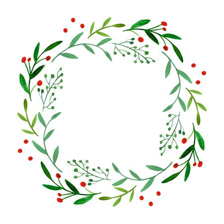 水彩の花輪  イラスト・ベクター素材