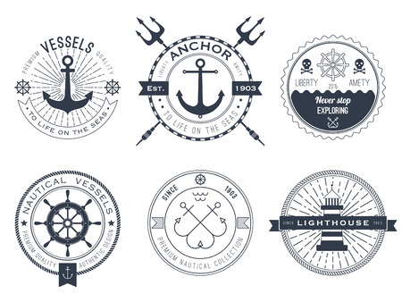 trident: Set of nautical , badges and labels Illustration