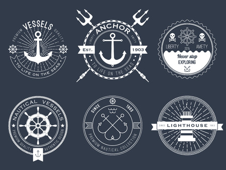 steering: Set of nautical , badges and labels on blackboard