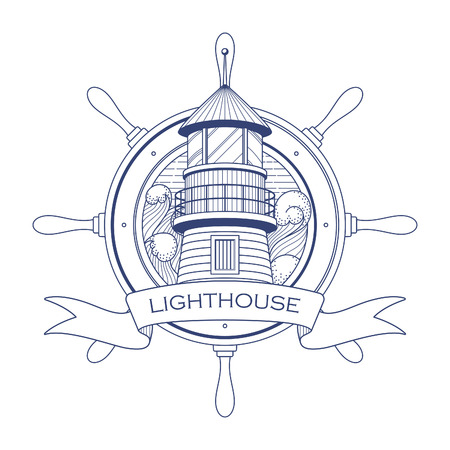 wheel house: Nautical with a lighthouse and steering wheel
