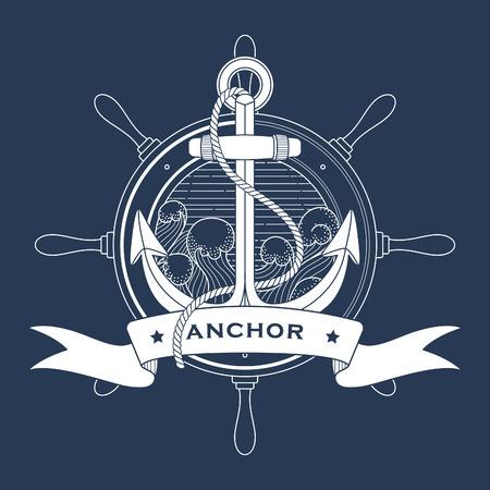 灯台とアンカー海里  イラスト・ベクター素材