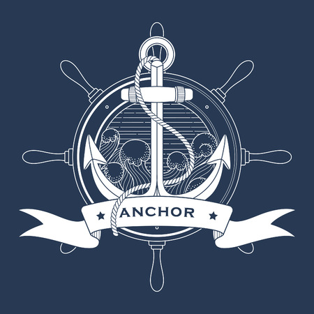 ship anchor: Nautical with a lighthouse and anchor