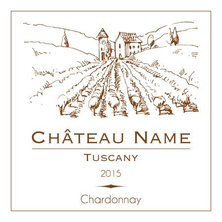vi�edo: Etiqueta del vino de la vendimia con una mano dibuja el paisaje rural Vectores