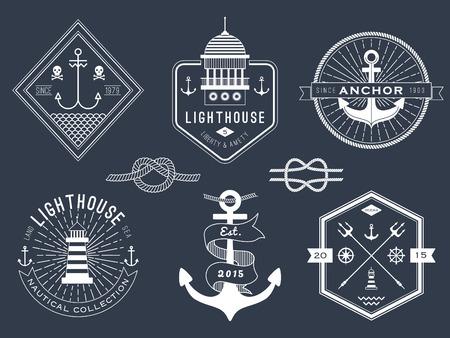 Set of nautical , badges and labels on blackboard Фото со стока - 37056304