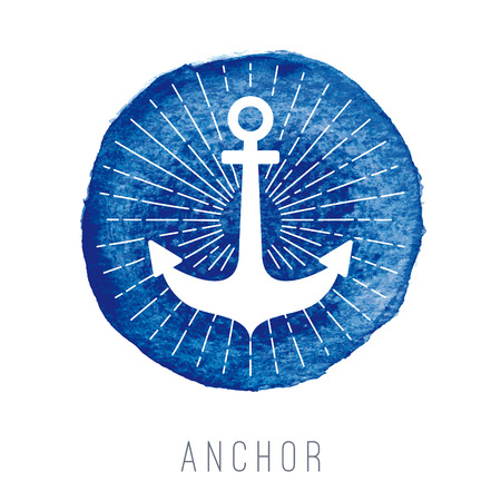 Watercolor nautical with an anchor
