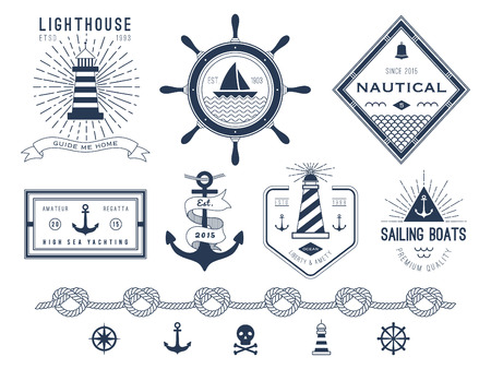 Set of nautical , badges and labels Vectores