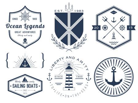 voile: Jeu de logos nautiques, insignes et �tiquettes Illustration