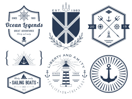ships at sea: Set of nautical logos, badges and labels