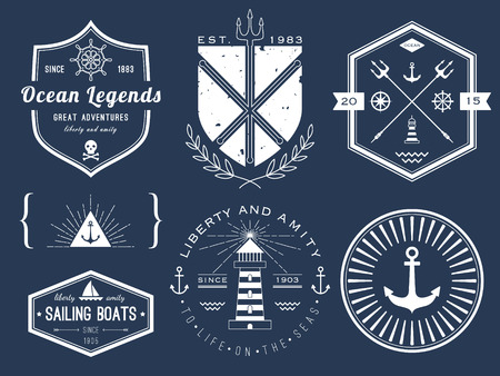 water vehicle: Set of nautical logos, badges and labels on blackboard Illustration