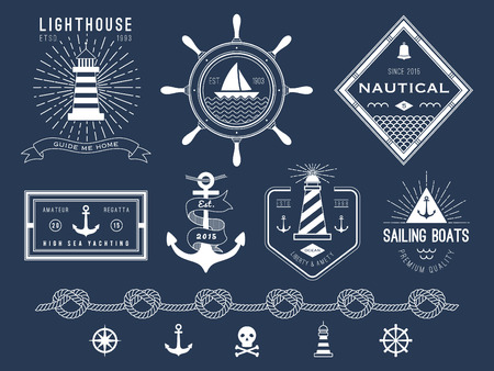 trident: Set of nautical , badges and labels on blackboard