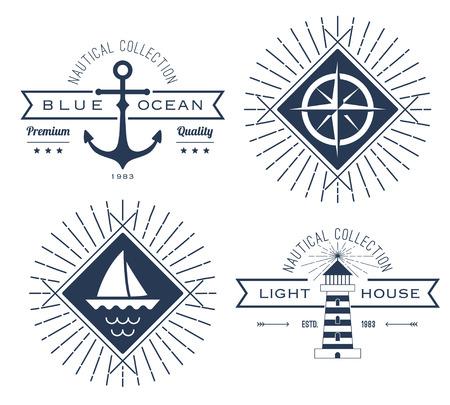 航海のアイコン、バッジ、ラベルのセット