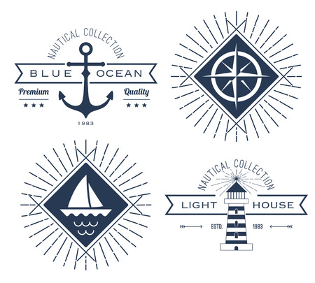 Set of nautical icons, badges and labels