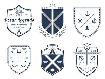 trident: Set of nautical icons, badges and labels