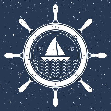 voile: Icone nautique avec un bateau à voile à l'intérieur du volant Illustration
