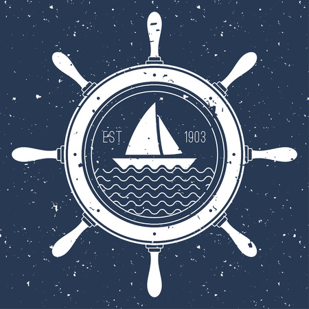 ship steering wheel: Nautical icon with a sail boat inside steering wheel Illustration