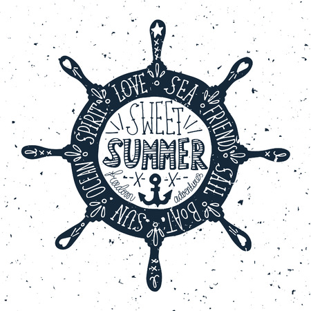 Hand drawn vintage label with a steering wheel on a grunge background