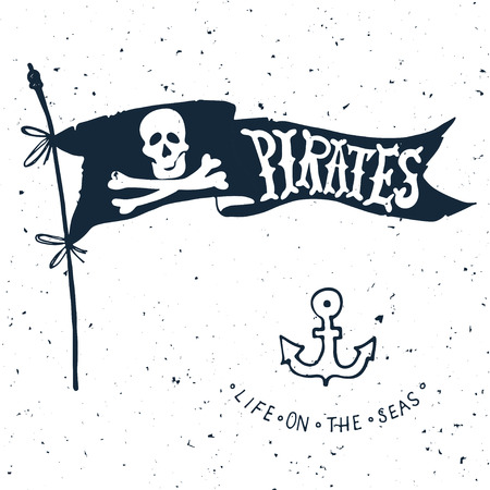 pirate flag: Jolly Roger. Hand drawn illustration of skull with swords. Illustration