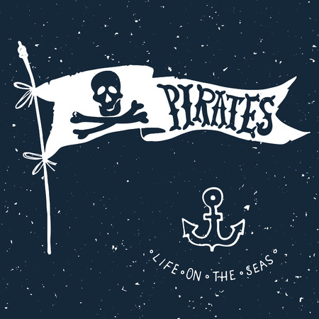 rogue: Jolly Roger. Hand drawn illustration of skull with swords. Illustration