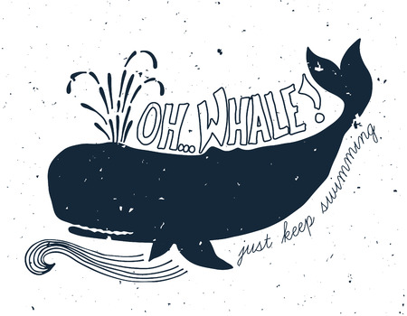 Hand drawn grunge illustration of whale Ilustrace