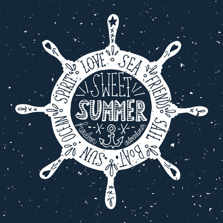 anchor: Hand drawn vintage label with a steering wheel on a grunge background
