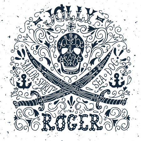 roger: Jolly Roger. Hand drawn vintage label with a pirat skull and two swords.