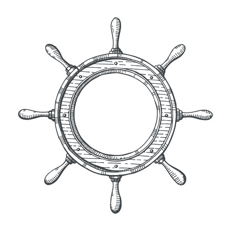 navy ship: Hand drawn illustration of a steering wheel