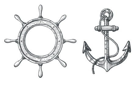 Hand drawn illustration of an anchor and a steering wheel